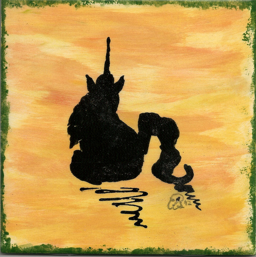 Unicorn At Rest Ceramic Art  - Unicorn At Rest Fine Art Print
