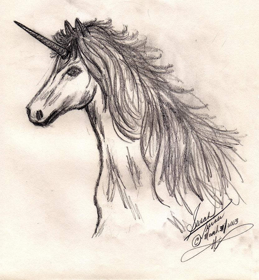 Unicorn Drawing by Susan Turner Soulis