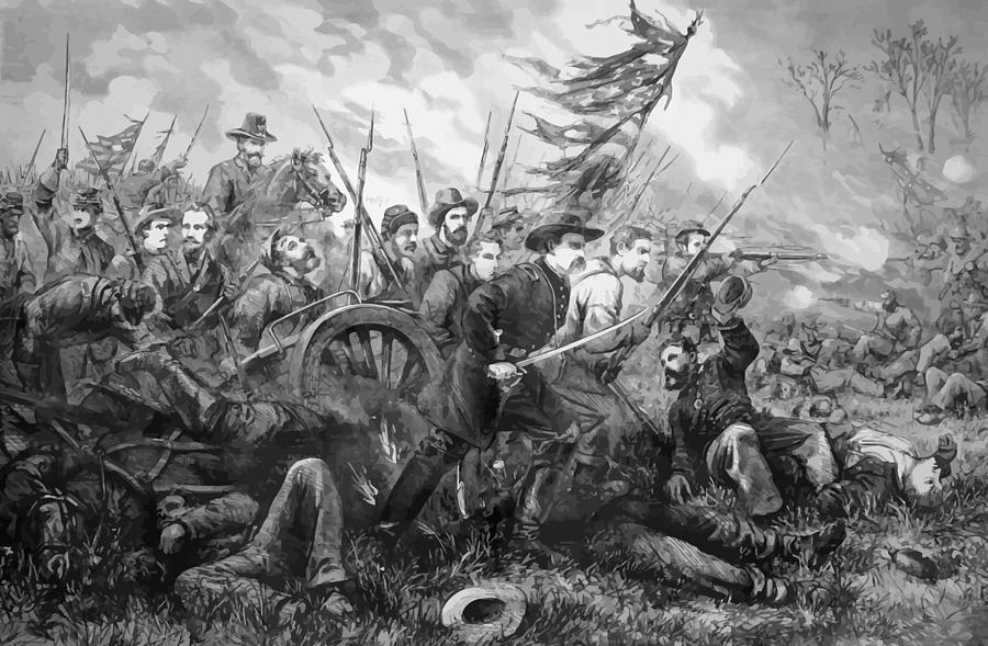 Gettysburg Painting - Union Charge At The Battle Of Gettysburg by War Is Hell Store