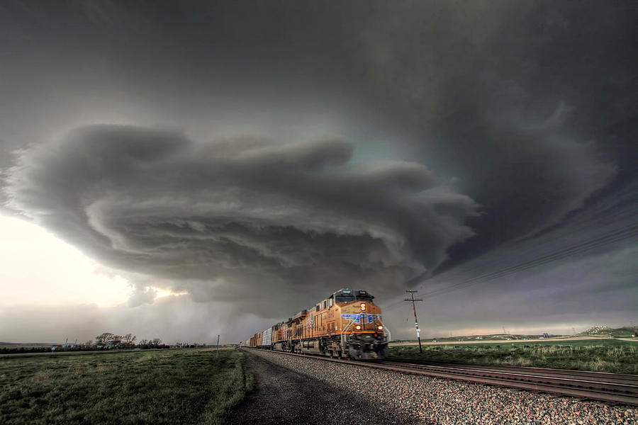 Union Pacific 7698 And Supercell Storm Photograph By Eric