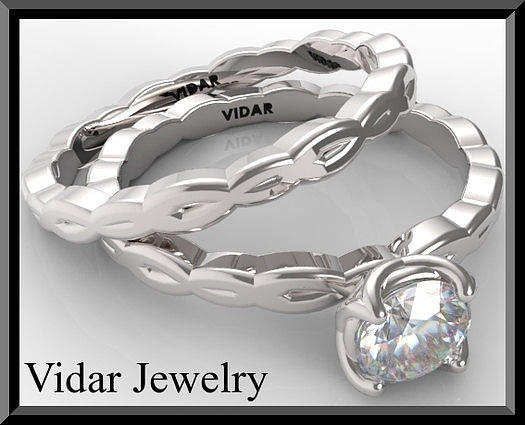 Gemstone Jewelry - Unique 14k White Gold Round Diamond Wedding Ring And Engagement Ring  by Roi Avidar