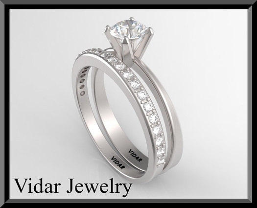 Unique And Beautiful White Gold Diamond Wedding Ring Set  Jewelry