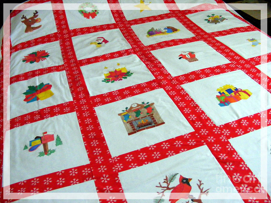 Unique Quilt With Christmas Season Images Tapestry - Textile - Unique Quilt With Christmas Season Images by Barbara Griffin