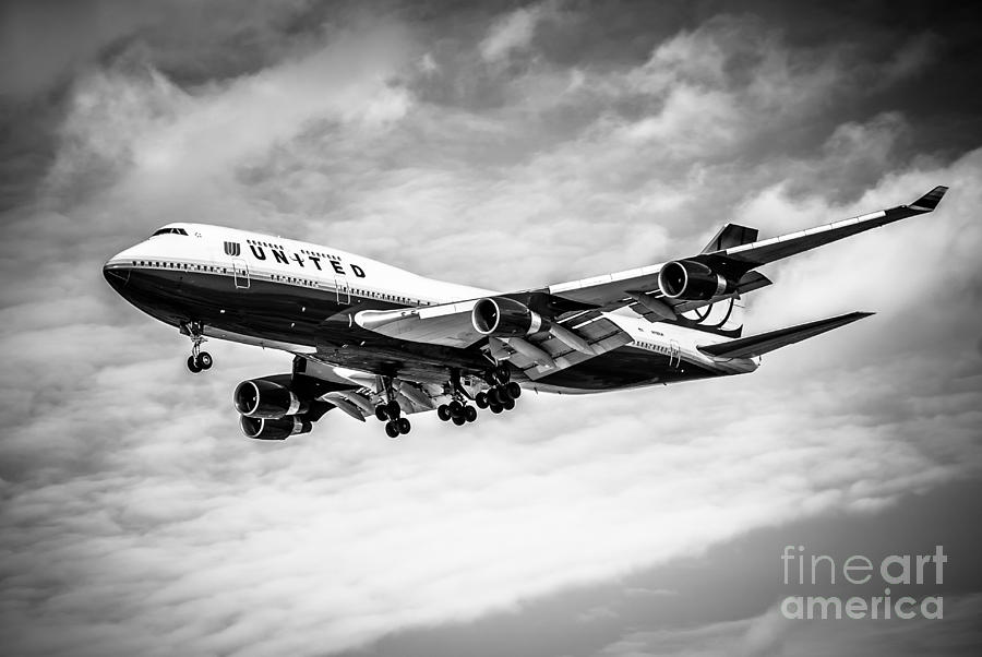 United Airlines Airplane In Black And White Photograph  - United Airlines Airplane In Black And White Fine Art Print