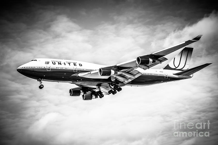United Airlines Boeing 747 Airplane Black And White Photograph