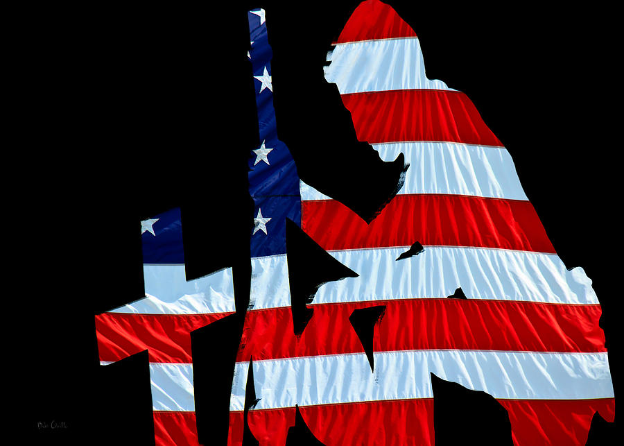 United States Flag With Kneeling Soldier Silhouette Photograph