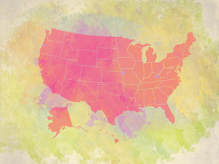 United States Map - Red And Watercolor Digital Art