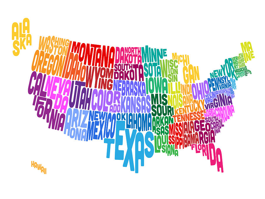 United States Typography Text Map Digital Art  - United States Typography Text Map Fine Art Print