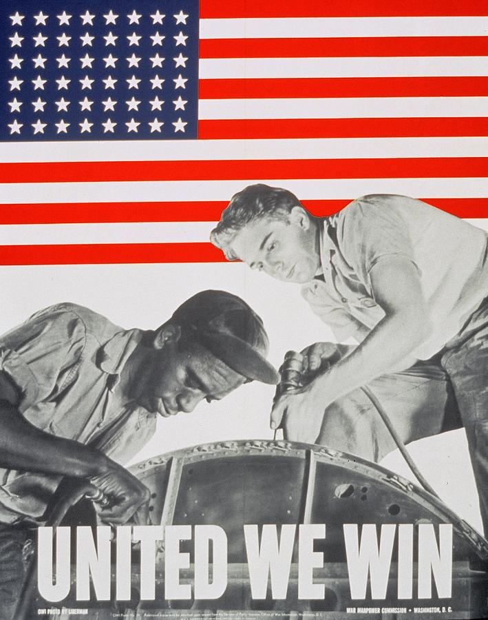 United We Win Us 2nd World War Manpower Commission Poster Painting