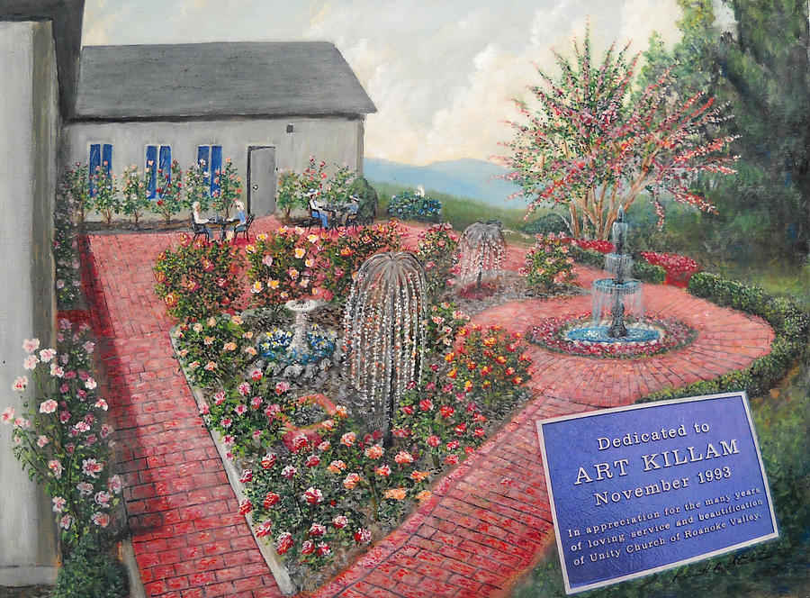 Landscape Painting - Unity Rose Garden  by Kenneth Stockton