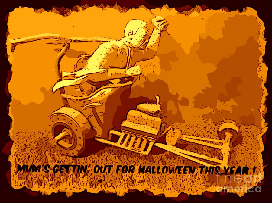 Halloween Cards Digital Art - Universal Mosters Mummys Chariot Card by John Malone