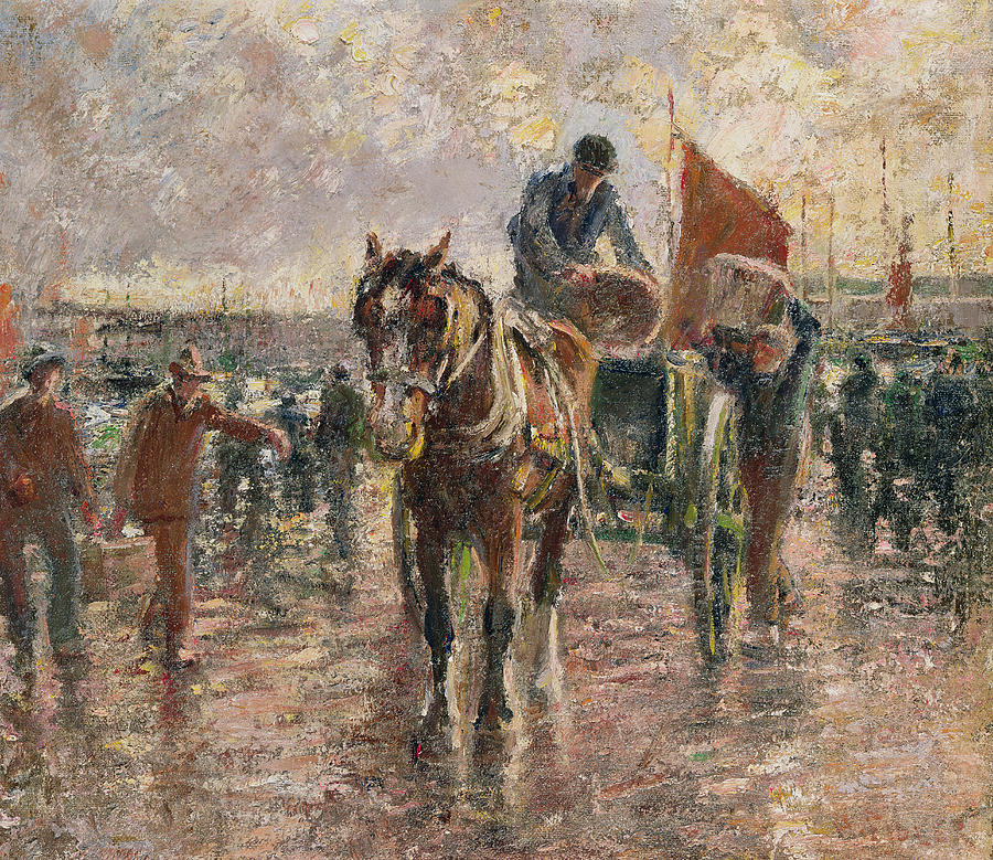 Horse Painting - Unloading The Catch by Harry Fidler