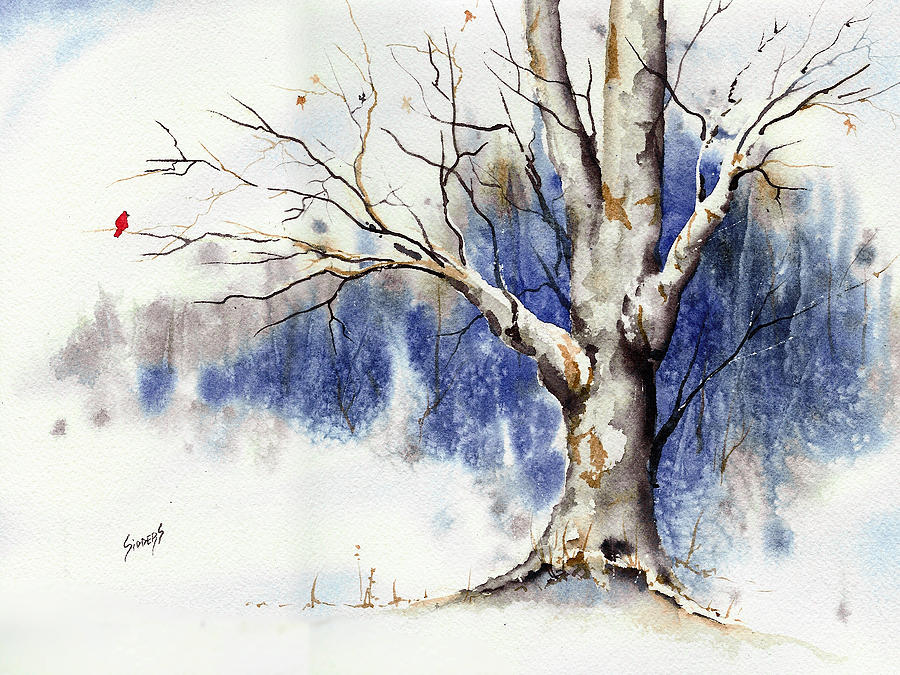 Untitled Winter Tree Painting