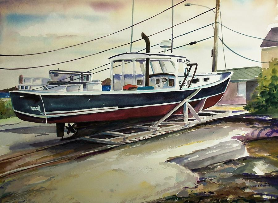 Up For Repairs In Perkins Cove Painting  - Up For Repairs In Perkins Cove Fine Art Print