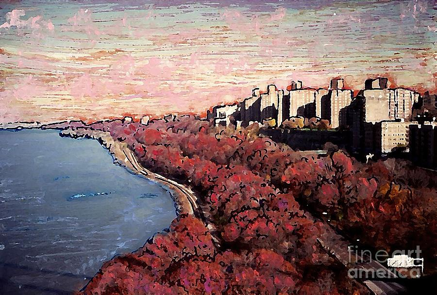 New York Mixed Media - Upper Manhattan Along The Hudson River by Sarah Loft
