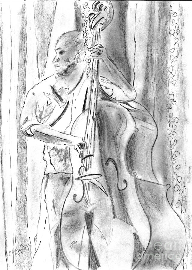 Upright Bass Drawing  - Upright Bass Fine Art Print