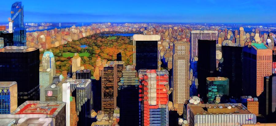 Urban Abstract New York City Skyline And Central Park Photograph