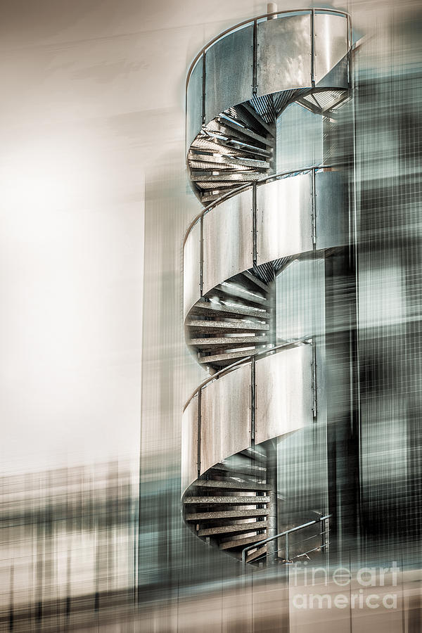 Stairs Digital Art - Urban Drill - Cyan by Hannes Cmarits