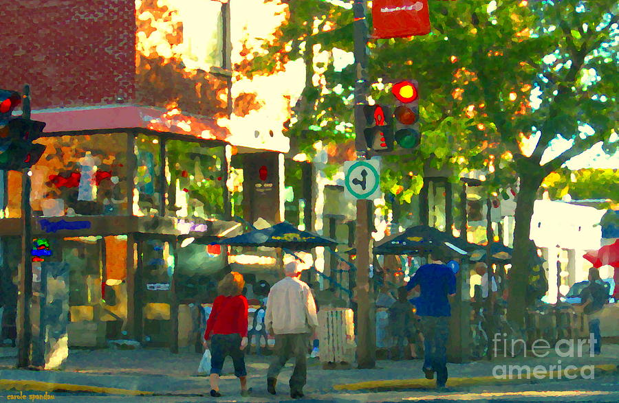 Urban Explorers Couple Walking Downtown Streets Of Montreal Summer Scenes Carole Spandau Painting