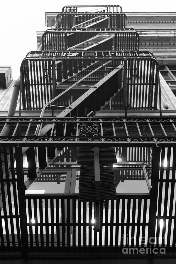 San Francisco Photograph - Urban Fabric - Fire Escape Stairs - 5d20592 - Black And White by Wingsdomain Art and Photography