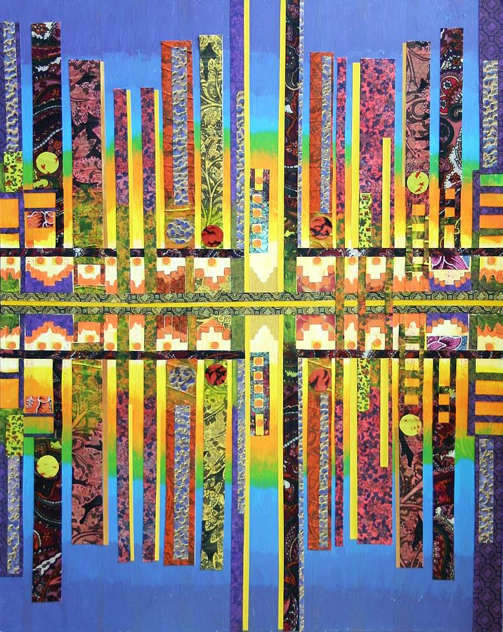 City.reflection.abstract.fabric Mixed Media - Urban Fabrics by Bob Craig