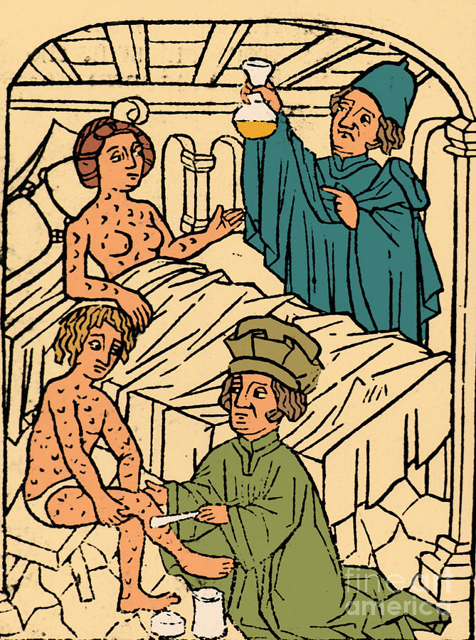 Science Photograph - Uroscopy Patients With Syphilis 1497 by Science Source
