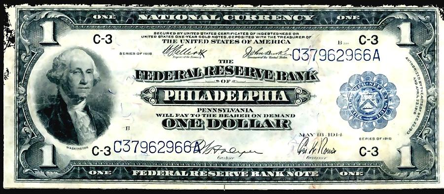U.s. 1918 One Dollar Federal Reserve Note  Painting