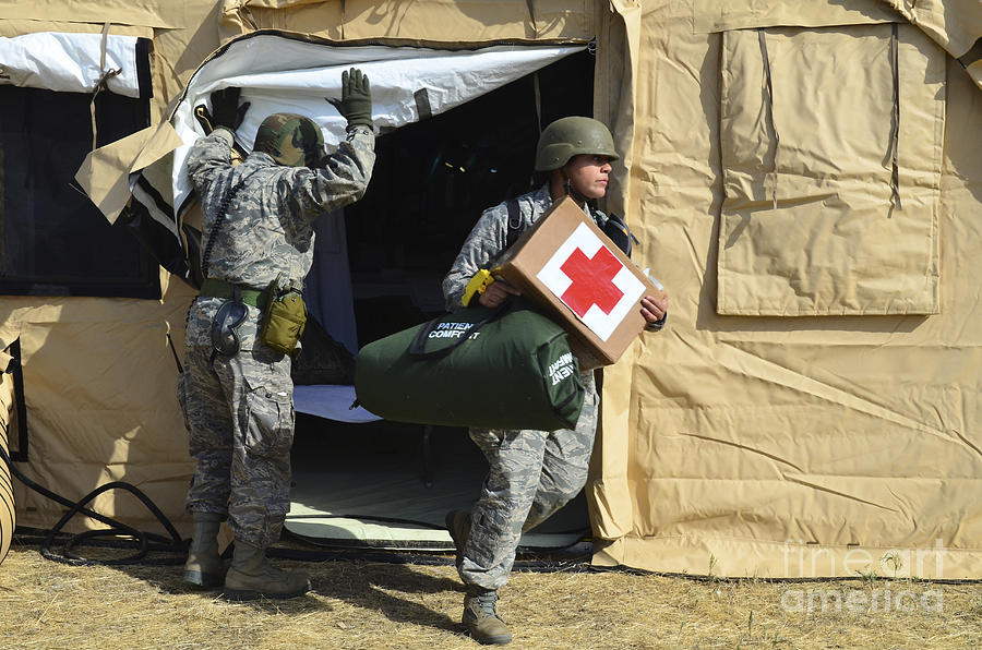 U.s. Air Force Soldier Exits A Medical Photograph  - U.s. Air Force Soldier Exits A Medical Fine Art Print