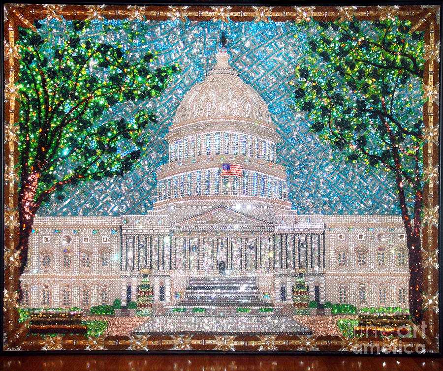 Us Capital Building Unique Extra-large Beadwork Art  Painting  - Us Capital Building Unique Extra-large Beadwork Art  Fine Art Print