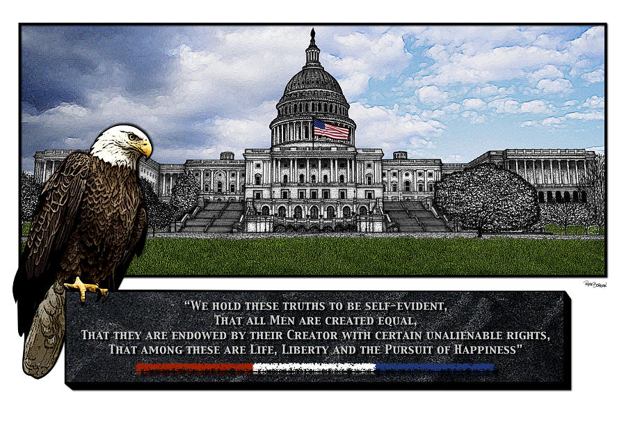 Us Capitol With Eagle Drawing  - Us Capitol With Eagle Fine Art Print