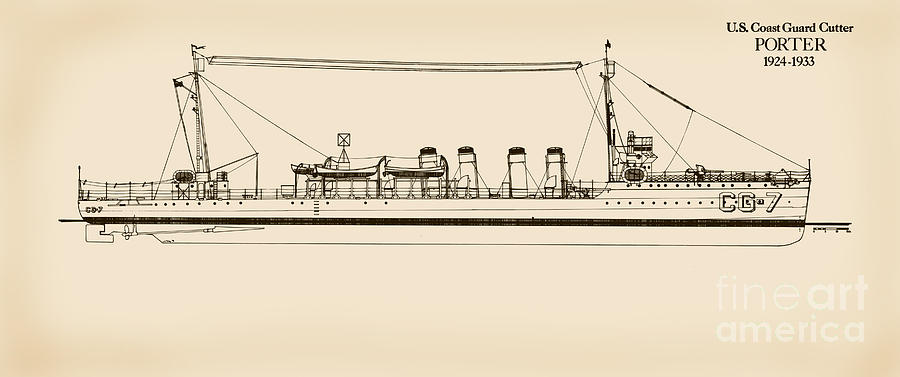 U.s. Coast Guard Cutter Porter Drawing  - U.s. Coast Guard Cutter Porter Fine Art Print