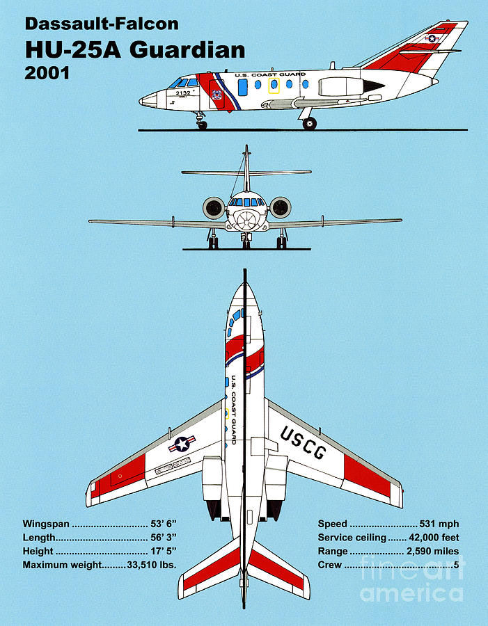U.s. Coast Guard Dassault-falcon Drawing  - U.s. Coast Guard Dassault-falcon Fine Art Print