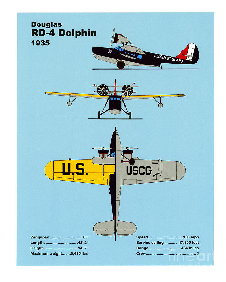 U.s. Coast Guard Douglas Rd-4 Dolphin Drawing