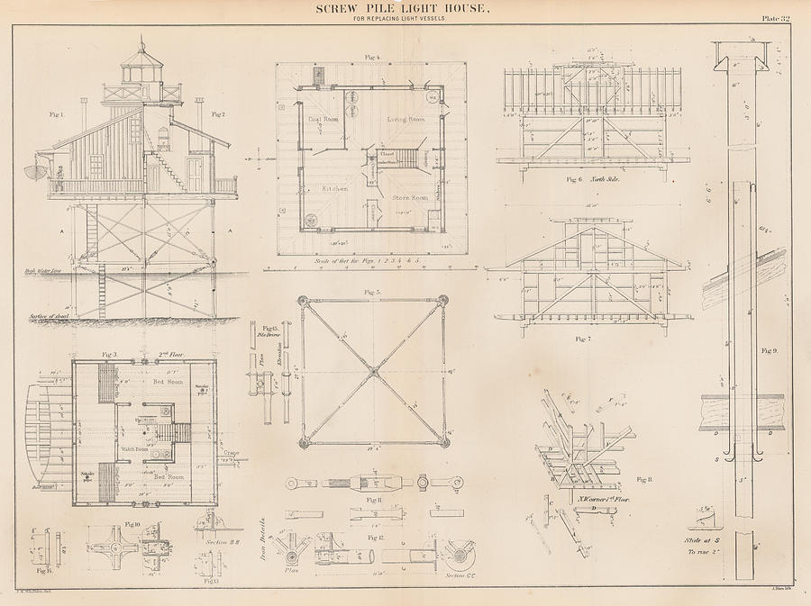 U.s. Coast Guard Drawing Of A Screw Pile Lighthouse Drawing  - U.s. Coast Guard Drawing Of A Screw Pile Lighthouse Fine Art Print