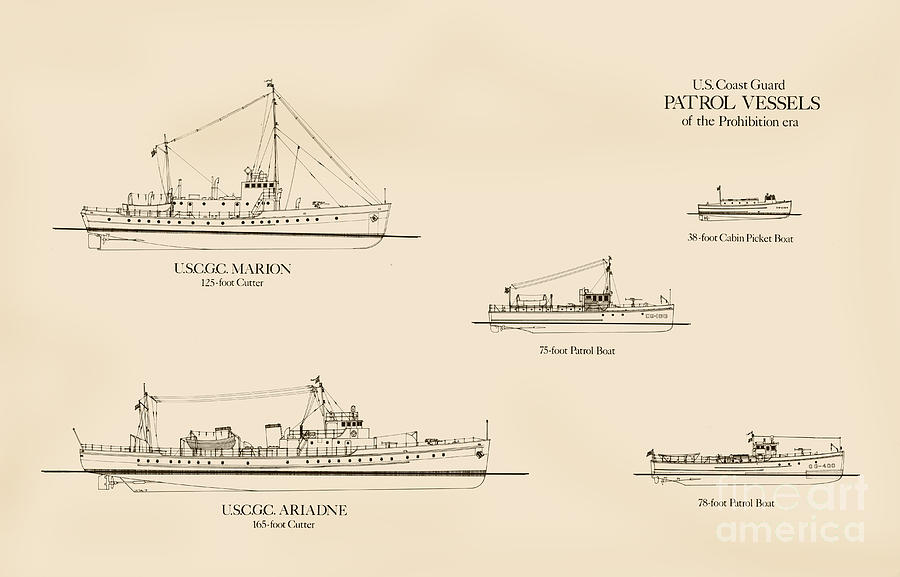 U.s. Coast Guard Patrol Boats Of The Prohibition Era Drawing  - U.s. Coast Guard Patrol Boats Of The Prohibition Era Fine Art Print
