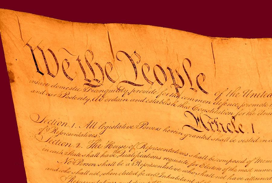Us Constitution Closeup Violet Red Bacjground Drawing