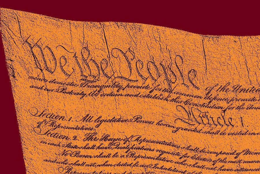 13 Drawing - Us Constitution Closeup Sculpture Violet Red Background by L Brown