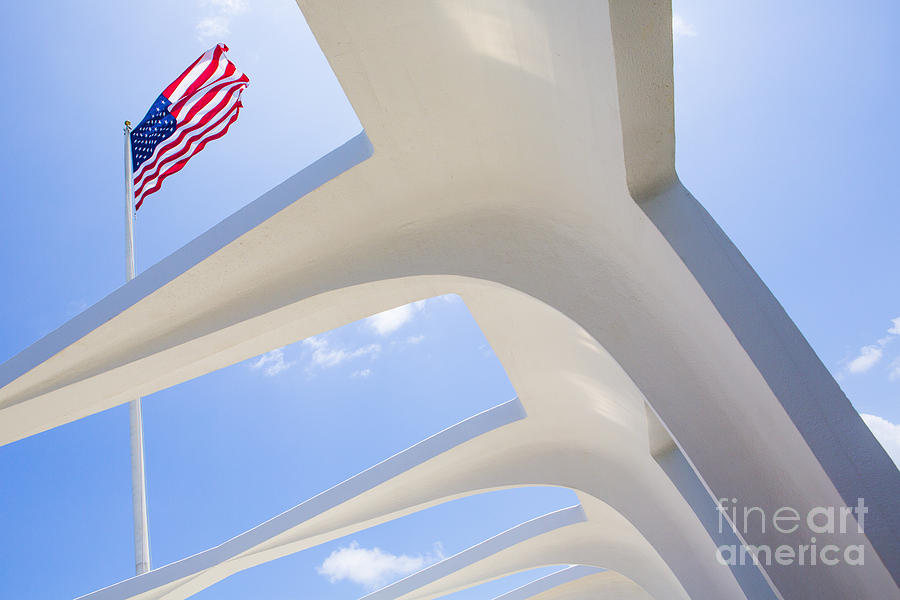 U.s.  Flag At The Uss Arizona Memorial Photograph