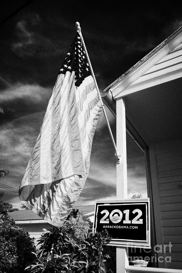 Us Flag Flying And Barack Obama 2012 Us Presidential Election Poster Florida Usa Photograph  - Us Flag Flying And Barack Obama 2012 Us Presidential Election Poster Florida Usa Fine Art Print