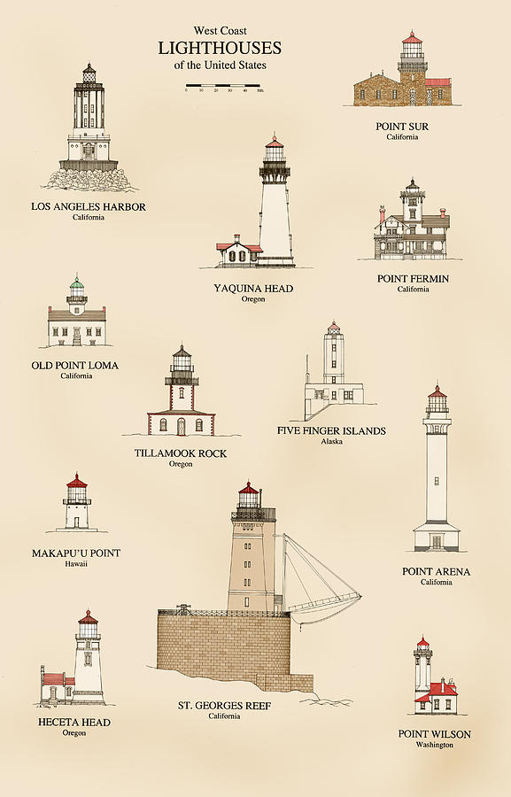 U.s Lighthouses Of The West Coast Drawing  - U.s Lighthouses Of The West Coast Fine Art Print