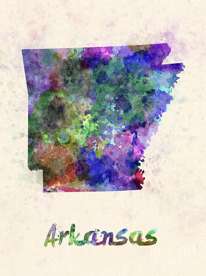 Us State In Watercolor Painting