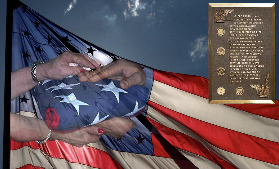 Us Veterans Burial Flag 3 Panel Composite Digital Art Photograph