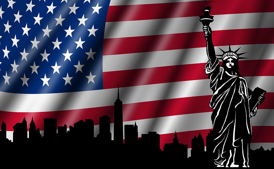 Usa American Flag With Statue Of Liberty Skyline Silhouette Photograph