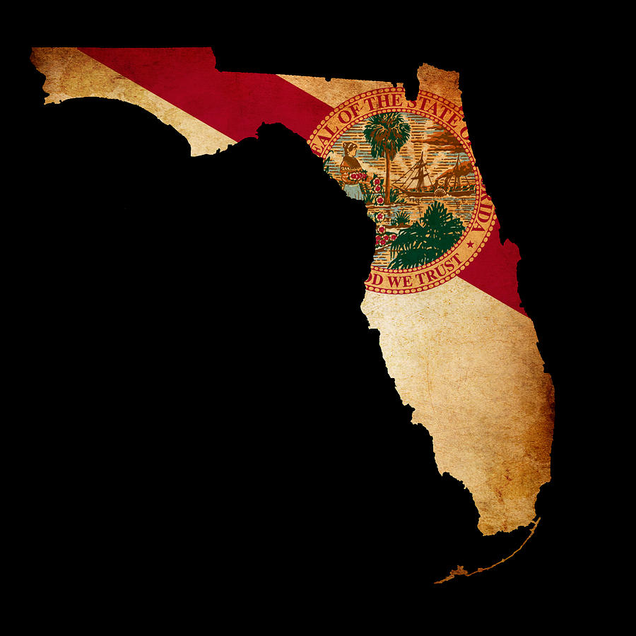 Usa American Florida State Map Outline With Grunge Effect