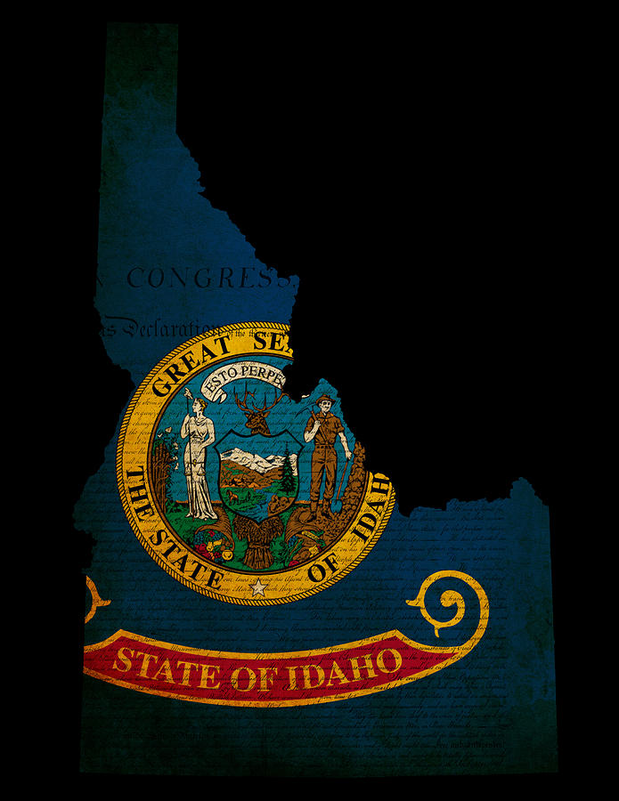 Usa American Idaho State Map Outline With Grunge Effect Flag And Photograph