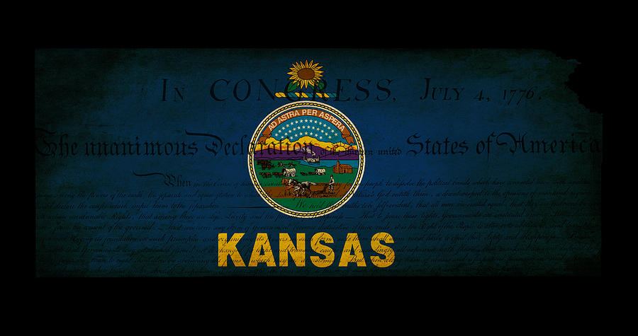 Usa American Kansas State Map Outline With Grunge Effect Flag An Photograph
