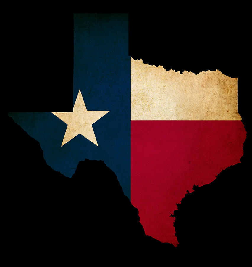 Usa American Texas State Map Outline With Grunge Effect