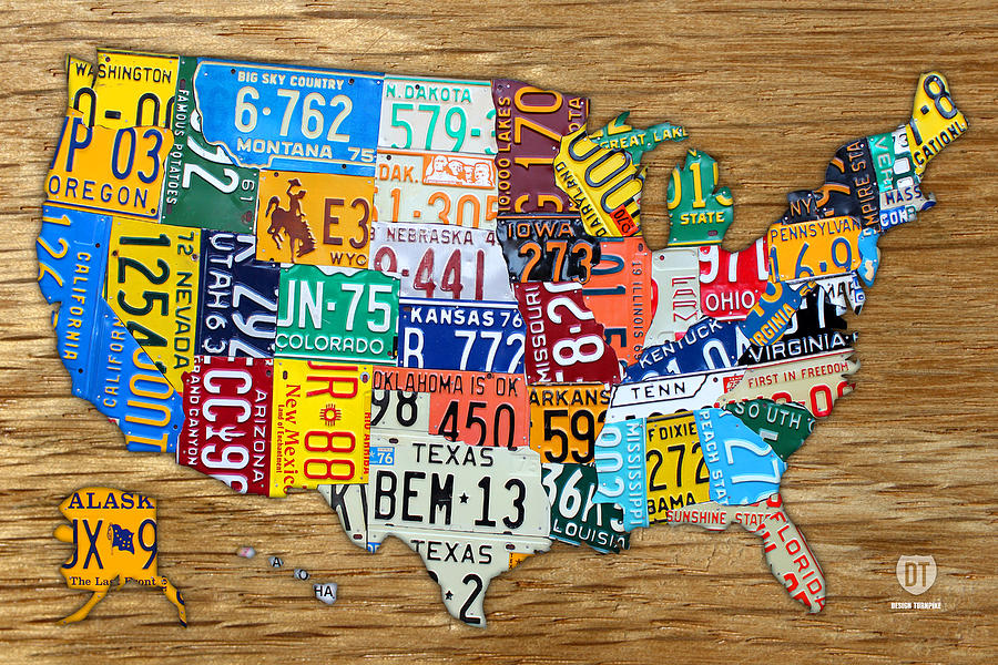 Usa License Plate Map Car Number Tag Art On Light Brown Stained Board Mixed Media