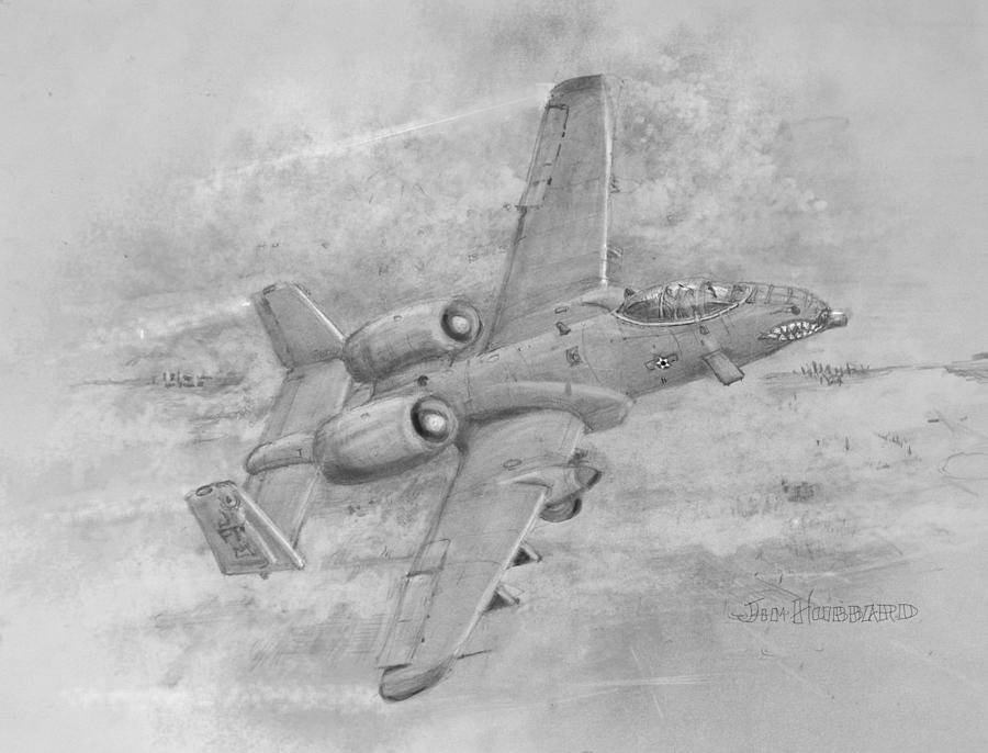 Usaf Fairchild-republic  A-10 Warthog Drawing  - Usaf Fairchild-republic  A-10 Warthog Fine Art Print