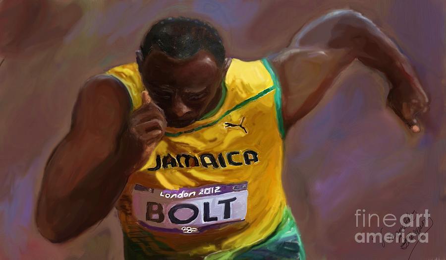 African American 2012 Olympians.  Painting - Usain Bolt 2012 Olympics by Vannetta Ferguson